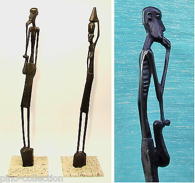 STATUE AFRICANE ANTICHE LEGNO STILIZZATE BASE MARMO Old Stylized African Statues