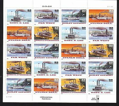 Below Face! #3091-3095 Riverboats. Wholesale Lot Of 5 Sheets. Bcv $112.50
