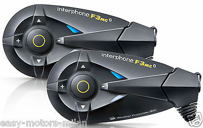 Interfono Bluetooth 2 Caschi Cellular Line F3 Mc Twin Pack Moto Universale New