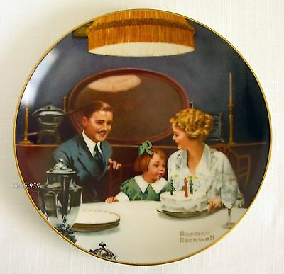 """""""the Birthday Wish""""~Knowles Ltd Ed~Norman Rockwell Collector Plate 1984~Mint"""