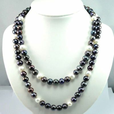 2pcs Superb Beautiful Hot 9-10mm south sea black white Natural pearl necklace 36