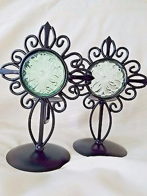 Black Wrought Iron Votive Candle Holders with Green Glass 2 PC
