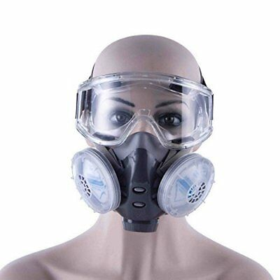 Babimax Anti-Dust Chemical Respirator Full Face Mask Gas Mask Paint Goggles Set