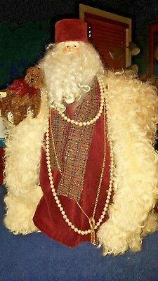 Father Christmas Figurine hand crafted one of a kind 19 inches tall Vintage