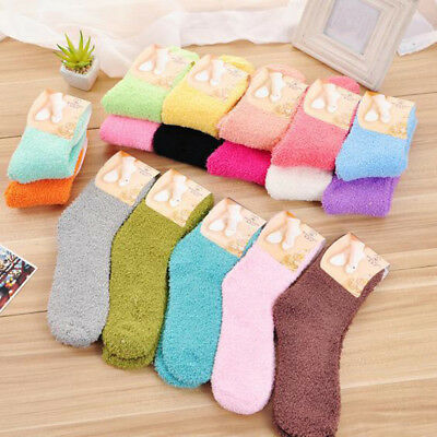 Home Women Girls Soft Bed Floor Socks Fluffy Warm Winter Pure Color Stocking