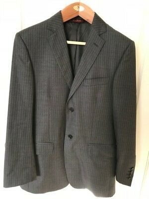 Men's Suit -Pronto Uomo - Made in Italy - 100% Wool - Charcoal - 38R 32W