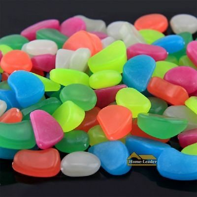 100x Large Pebbles Stone Glow in the Dark Home Garden Walkway Aquarium Fish Tank