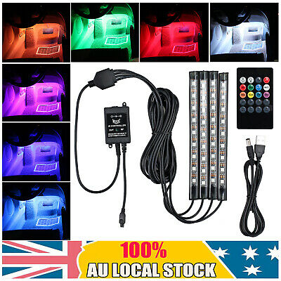 4X USB Car Interior RGB LED Strip Lights Atmosphere Decorative Neon Music Lamp