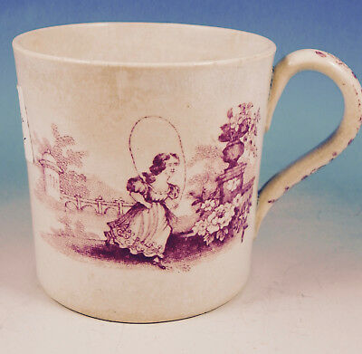 Antique Pearlware Child's Mug Pink Transferware Girl with Jump Rope