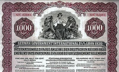 5 1/2% German Government Int. Loan 1930 due 1965  (1.000 $) + Coupons