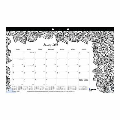 Blueline 2018 Monthly Coloring Desk Pad Calendar, Botanica, January - December,