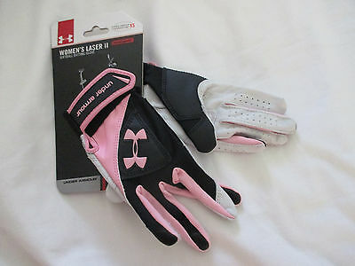UNDER ARMOUR~Pink Black LASER II BATTING GLOVES~Women's XS~NWT