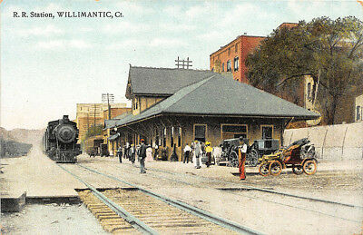 Willimantic CT Railroad Station Train Depot Old Cars Postcard