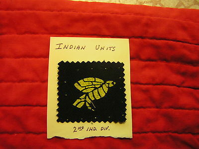 Silk Screened 2Nd India Division  Formation Sign, British/india