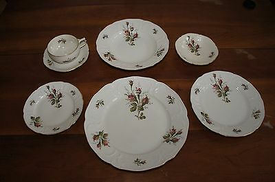 Vintage German Rosenthal Sanssouci Moss Rose China 10 Pls Set many Extras