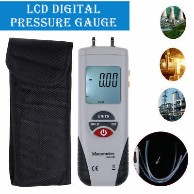 LCD Digital Manometer Differential Air Pressure Meter Gauge 2Psi ±13.79Kpa Case