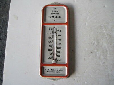 Vintage H.H. Sloan & Sons Indiana Certified Farm Seeds Advertising Thermometer