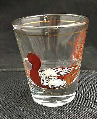 Vintage Culver Shot Glass Whiskey Jigger 22K Gold Features a Duck w/Gold Accents