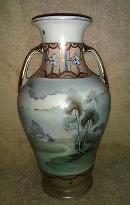 Large Hand Painted Nippon Vase with Rural Landscape Scene