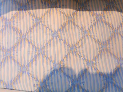 "Scalamandre Blue White Tan Striped "" Mrs. Davenport""  Wallpaper 9 yds."