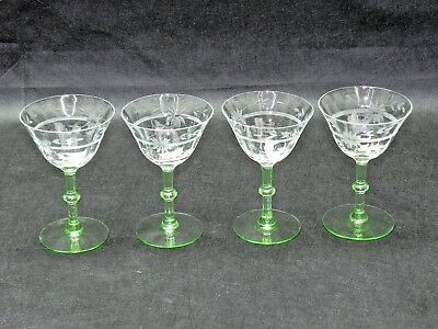 Set of 4 Depression Hand Cut Crystal Glass Vaseline Martini Vintage Glasses