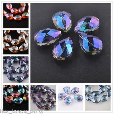 5pcs 24x17mm Faceted Flat Glass Crystal Teardrop Jewelry Findings Loose Beads