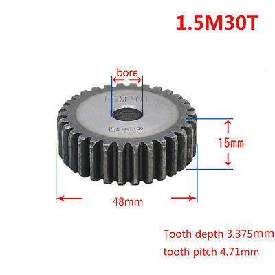 1Pcs 1.5Mod 30T 45# Steel Motor Spur Gear Outer Diameter 48mm Thickness 15mm