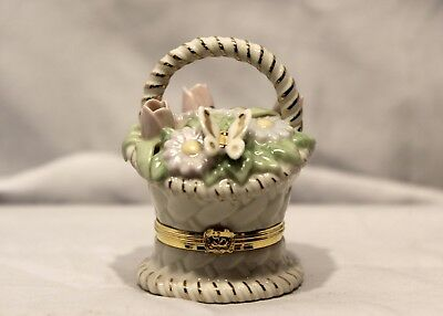 Lenox Treasures Basket of Blooms Hinged Trinket Box with Butterfly & Charm