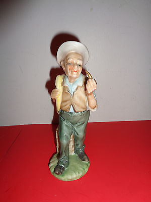 """Vintage Napcoware  Hand Painted Old Man Smoking Pipe Figurine (6.25 by 2 by 2 """")"""