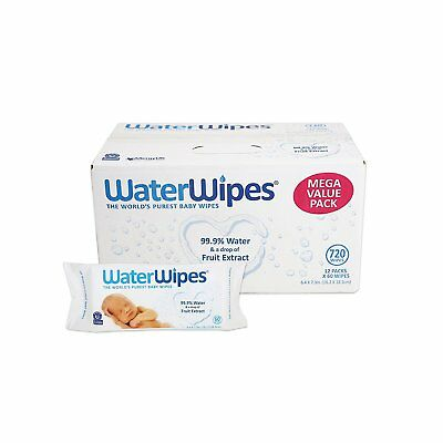 WaterWipes Sensitive Baby Wipes, 12 Packs of 60 Count (720 Count)