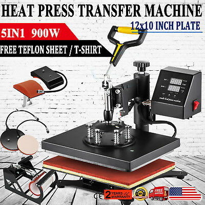 "5in1 12""x10"" Heat Press Machine Transfer Subimaltion T-shirt Cap Swing Mug Cap"