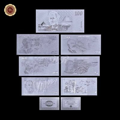 WR Old Australia $1 2 5 - 100 Dollar Polymer Note Silver Banknote Set /w COA