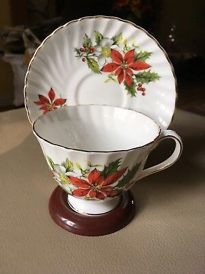 Royal Adderley Bone China Footed Cup and Saucer Poinsettia by Ridgway England