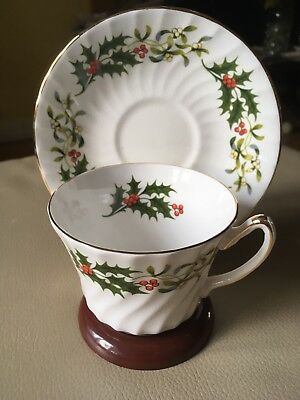 Royal Sutherland Vtg Bone China Footed Cup and Saucer, Holly Pattern, England