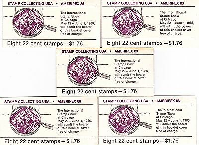 5 CC's OF U.S. BKLT OF 8 SCOTT #BK153 22ct STAMP COLLECTING MINT OPEN AT FACE