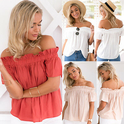 Fashion Women Cotton Blouse Off the Shoulder Loose Casual T Shirt Tops US Stock