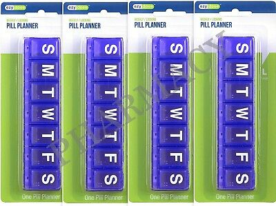 Locking Pill Planner Weekly LARGE Ezy Dose ( 4 pack ) COLORS WILL VARY