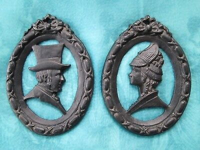 2 Vintage WILTON Cast Iron Wall Décor Oval SILHOUETTES Victorian Lady+Gentleman
