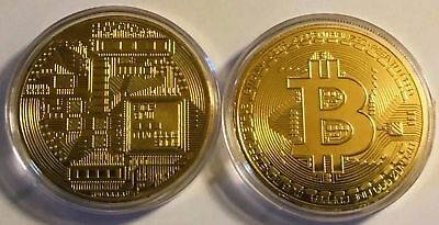 BITCOIN!! Gold Plated Physical Bitcoin in protective acrylic case FAST SHIP SQA