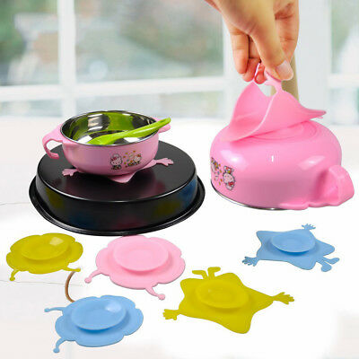 Kids Baby Bowls Suction Mat Silicone Soft Non Slip Table Happy Dish Star Flower