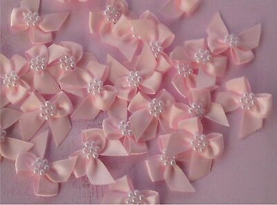 Satin Ribbon Bow With Pearls Petal Pink Qty 10 Sewing Embellishments Craft