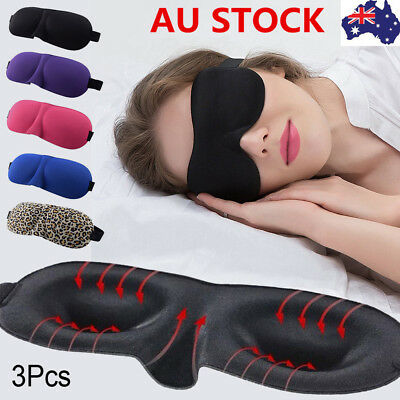 3PCS 3D Soft Padded Travel Shade Cover Rest Relax Sleeping Blindfold Eye Mask