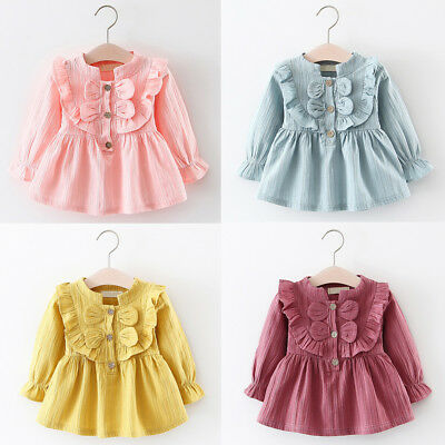 Infant Kids Baby Girl Long Sleeve Casual Daily Party Pageant Princess Tutu Dress