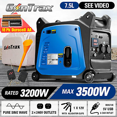 GenTrax Portable Inverter Generator 3.5kVA Remote Start 18 Duracell AA Batteries