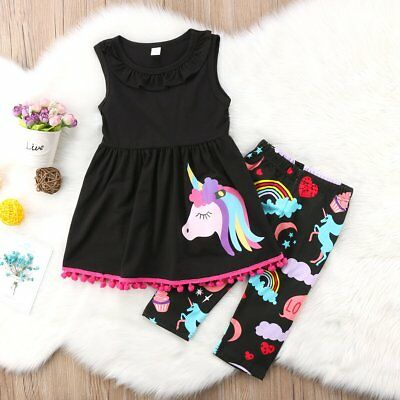 Unicorn Kids Baby Girls Summer Outfits Clothes T-shirt Tops Dress+Pants 2PCS Set