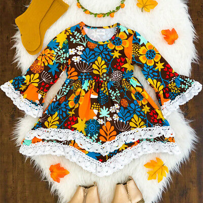 Toddler Kids Baby Girl Dress Floral Long Sleeve Party Pageant Prom Dress Clothes