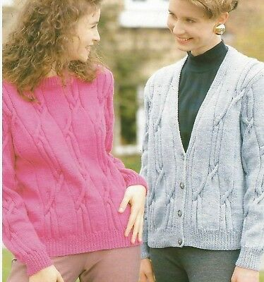 Ladies Cable Cardigan And Sweater V Neck Knitting Pattern Dk 32 44