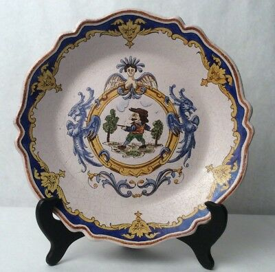 Rare Antique 19th Century French Faience Hand Painted Signed Earthenware Plate