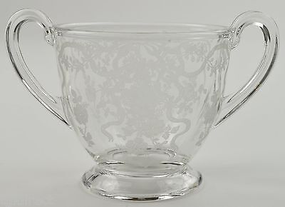 Fostoria Clear Glass Romance Pattern Footed Open Sugar Etched Bow Floral Flowers
