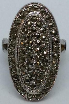 Antique oval pave Art Deco Victorian Sterling Silver 925 Marcasite Ring 5 ~ MINT